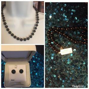 Jewelry - Striking 14k YG Onyx Bead Set